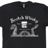 Scotch Whisky T Shirt Loch Ness Monster Tee Shirt Scotland Graphic Shirt