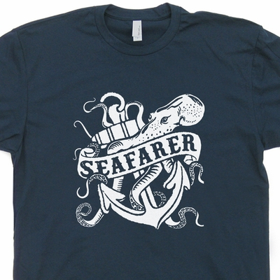 Seafarer T Shirt Vintage Sailboat T Shirt Sailing Navy Anchor T Shirt