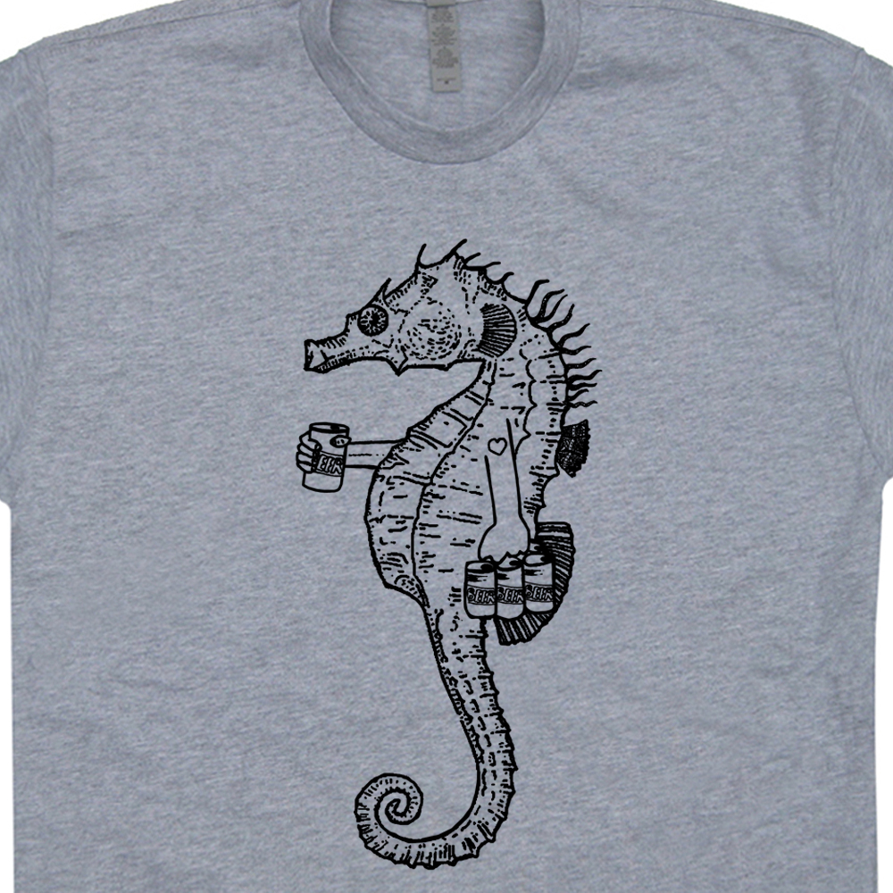 Seahorse t shirt seahorse drinking beer t shirt for Funny craft beer shirts
