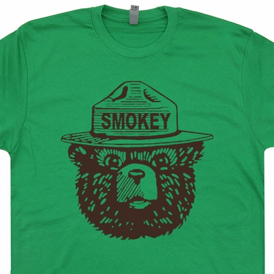 Smokey The Bear T Shirt Vintage Camping Shirt Cool Hiking Tee Shirts