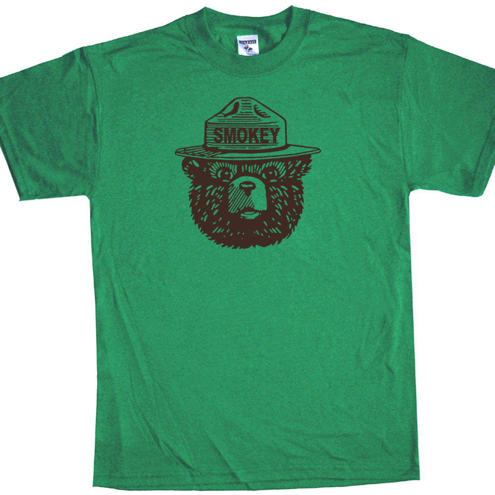 Smokey the bear t shirt fireman t shirt funny t shirts for Graphic designs for t shirts