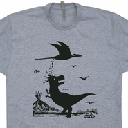 Gray T Rex T Shirt Pterodactyl Poop T Shirt Funny Dinosaur Shirt Cool Graphic