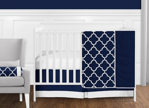 Navy Blue And White Modern Trellis Lattice Baby Boy Crib Bedding Set Without