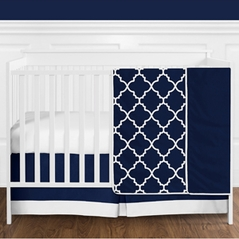 11 pc. Navy Blue and White Modern Trellis Lattice Baby Boy Crib Bedding Set without Bumper by Sweet Jojo Designs
