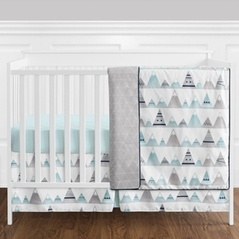 11 pc. Navy Blue, Aqua and Grey Aztec Mountains Baby Boy or Girl Unisex Crib Bedding Set without Bumper by Sweet Jojo Designs