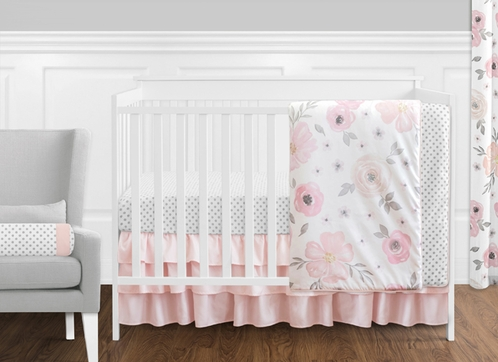 11 pc. Blush Pink, Grey and White Watercolor Floral Baby Girl Crib Bedding Set without Bumper by Sweet Jojo Designs - Rose Flower Polka Dot - Click to enlarge