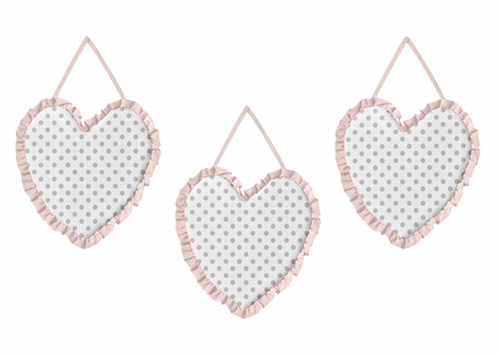 Blush Pink, Grey and White Wall Hanging Decor for Watercolor Floral Collection by Sweet Jojo Designs - Set of 3 - Click to enlarge