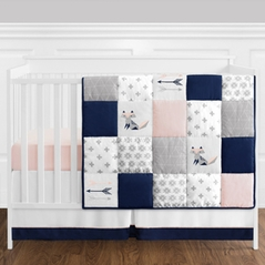 11 pc. Navy Blue, Pink, and Grey Patchwork Woodland Fox and Arrow Baby Girl Crib Bedding Set without Bumper by Sweet Jojo Designs