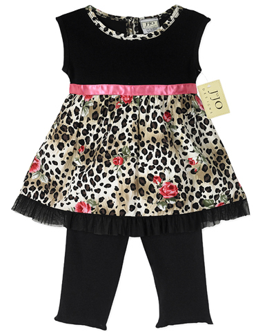 2pc Baby Girls Leopard Rose Outfit by Sweet Jojo Designs - Click to enlarge