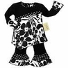 2pc Black and White Floral Polka Dot Baby Girls Outfit by Sweet Jojo Designs