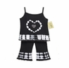 2pc Black and White Tie Dye Crystal Heart Outfit by Sweet Jojo Designs