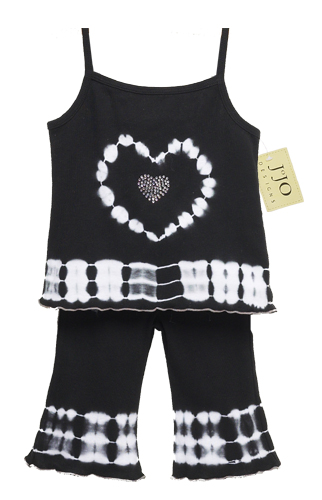2pc Black and White Tie Dye Crystal Heart Outfit by Sweet Jojo Designs - Click to enlarge