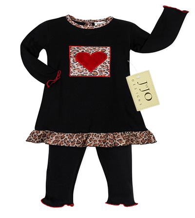 2pc Heart and Leopard Print Baby Girls Outfit by Sweet Jojo Designs - Click to enlarge