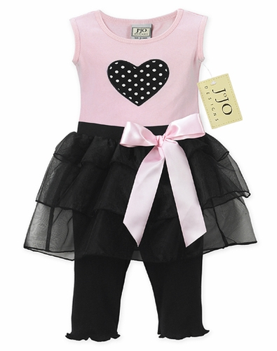 2pc Heart Tutu Baby Girl Leggings Outfit by Sweet Jojo Designs - Click to enlarge