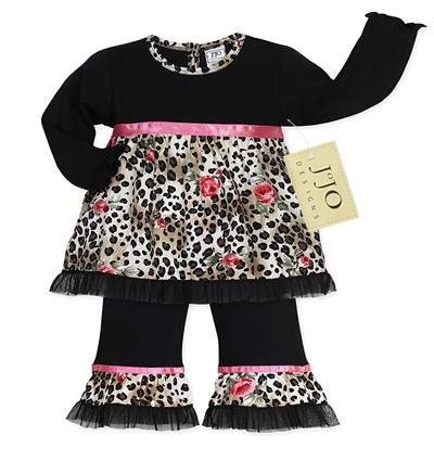 2pc Leopard Rose Baby Girls Outfit by Sweet Jojo Designs - Click to enlarge