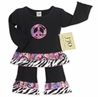 2pc Paisley and Zebra Print Peace Sign Girls Outfit by Sweet Jojo Designs