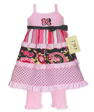 2pc Pink and Black Floral, Stripe and Polka Dot Baby Girls Outfit or Dress by Sweet Jojo Designs - Click to enlarge