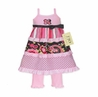 2pc Pink and Black Floral, Stripe and Polka Dot Baby Girls Outfit or Dress by Sweet Jojo Designs