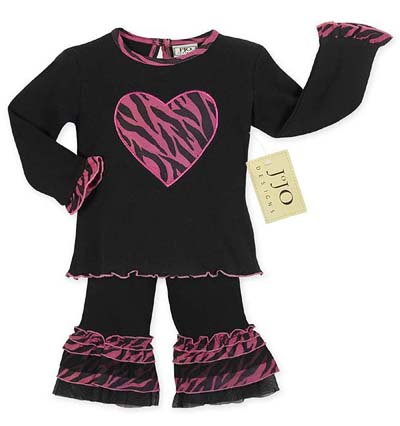 2pc Pink and Black Zebra Heart Baby Girl Outfit by Sweet Jojo Designs - Click to enlarge