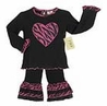 2pc Pink and Black Zebra Heart Baby Girl Outfit by Sweet Jojo Designs