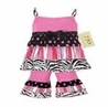 2pc Pink and Black Zebra, Stripe, and Polka Dot Baby Girls Outfit by Sweet Jojo Designs