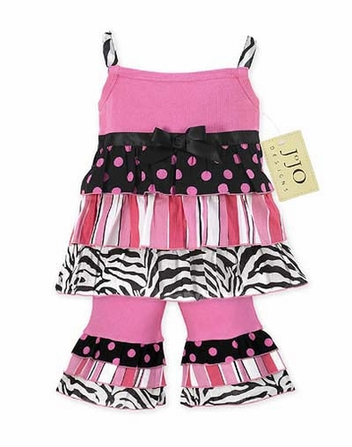 2pc Pink and Black Zebra, Stripe, and Polka Dot Baby Girls Outfit by Sweet Jojo Designs - Click to enlarge