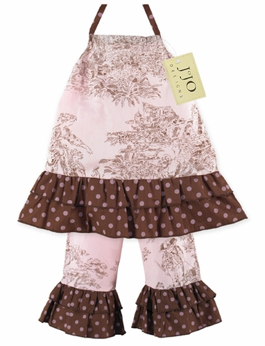 2pc Pink and Brown French Toile Baby Outfit by Sweet Jojo Designs - Click to enlarge