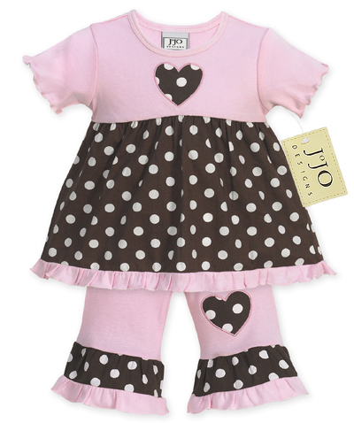 2pc Pink and Brown Polka Dot Baby Girls Outfit by Sweet Jojo Designs - Click to enlarge