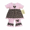 2pc Pink and Brown Polka Dot Baby Girls Outfit by Sweet Jojo Designs