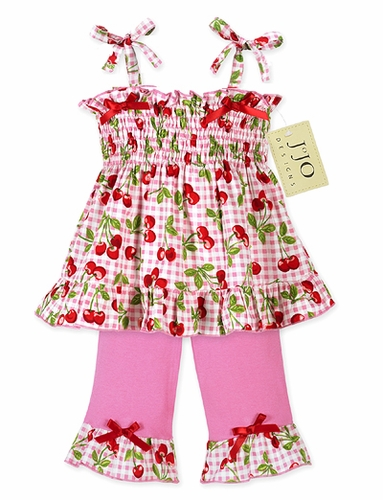 2pc Pink and Green Cherry Smocked Baby Outfit by Sweet Jojo Designs - Click to enlarge