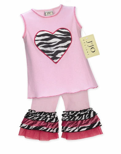 2pc Pink and Zebra Heart Baby Girl Outfit by Sweet Jojo Designs - Click to enlarge