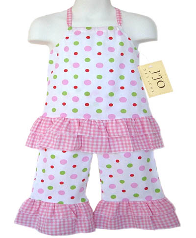 2pc Pink, Green, and White Polka Dot Halter Outfit by Sweet Jojo Designs - Click to enlarge