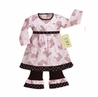 2pc Pink Paris Poodle & Polka Dot Boutique Baby Girls Outfit or Dress