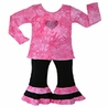 2pc Pink Tye Dye Baby Girls Crystal Heart Outfit