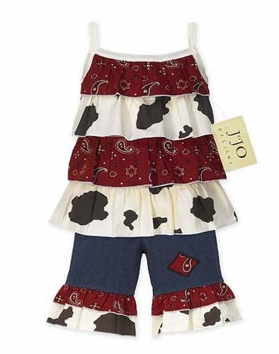 2pc Western Cow Print and Bandana Baby Girls Outfit by