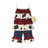2pc Western Cow Print and Bandana Baby Girls Outfit by Sweet Jojo Designs