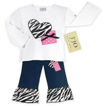 2pc Zebra Heart and Polka Dot Baby Jeans Outfit by Sweet Jojo Designs - Click to enlarge