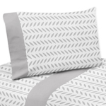 3 pc Grey and White Leaf Print Twin Sheet Set for Forest Deer and Dandelion Bedding Collection