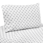 3 pc Triangle Print Twin Sheet Set for Grey, Coral and Mint Woodland Arrow Bedding Collection by Sweet Jojo Designs