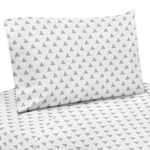 3 pc Triangle Print Twin Sheet Set for Grey, Navy Blue and Mint Woodland Arrow Bedding Collection by Sweet Jojo Designs