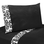 3 pc Twin Sheet Set for Black and White Isabella Bedding Collection
