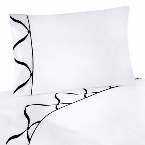 4 pc Queen Sheet Set for Black and White Princess Bedding Collection - White - Click to enlarge