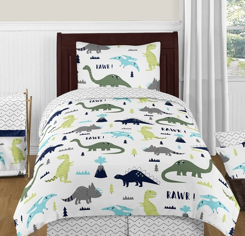 Blue and Green Mod Dinosaur 4pc Twin Boy or Girl Bedding Set by Sweet Jojo Designs - Click to enlarge