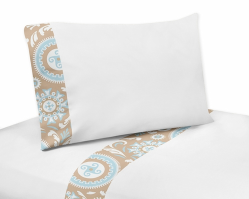 4 pc Queen Sheet Set for Blue and Taupe Hayden Bedding Collection by Sweet Jojo Designs - Click to enlarge