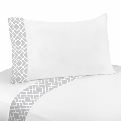 3 pc Twin Sheet Set for Gray and White Diamond Bedding Collection by Sweet Jojo Designs - Click to enlarge