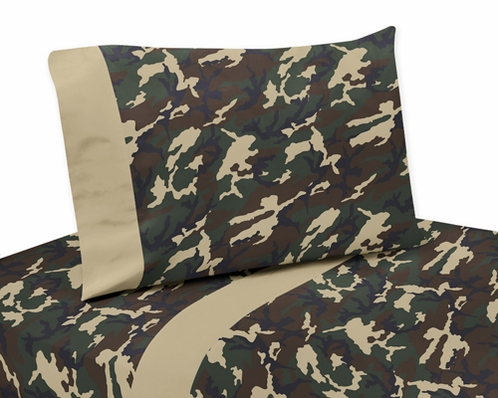 3 pc Twin Sheet Set for Green Camo Bedding Collection - Click to enlarge