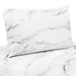 3 pc Twin Sheet Set for Grey, Black and White Marble Bedding Collection