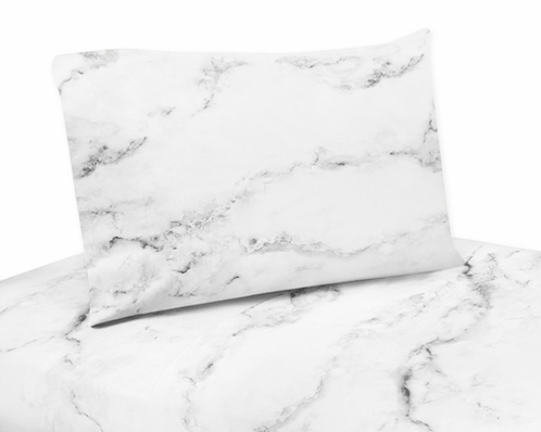 3 Pc Twin Sheet Set For Grey Black And White Marble