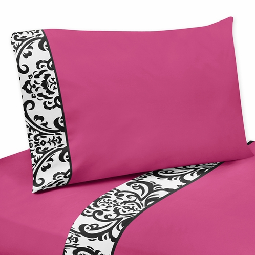 3 pc Twin Sheet Set for Hot Pink, Black and White Isabella Bedding Collection by Sweet Jojo Designs - Click to enlarge