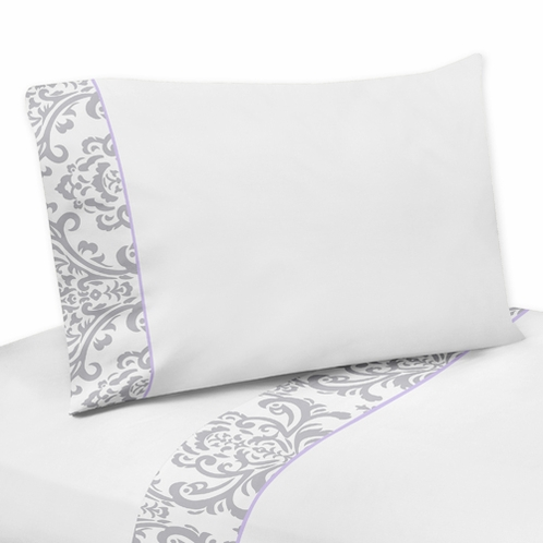 3 pc Twin Sheet Set for Lavender and Gray Elizabeth Bedding Collection by Sweet Jojo Designs - Click to enlarge